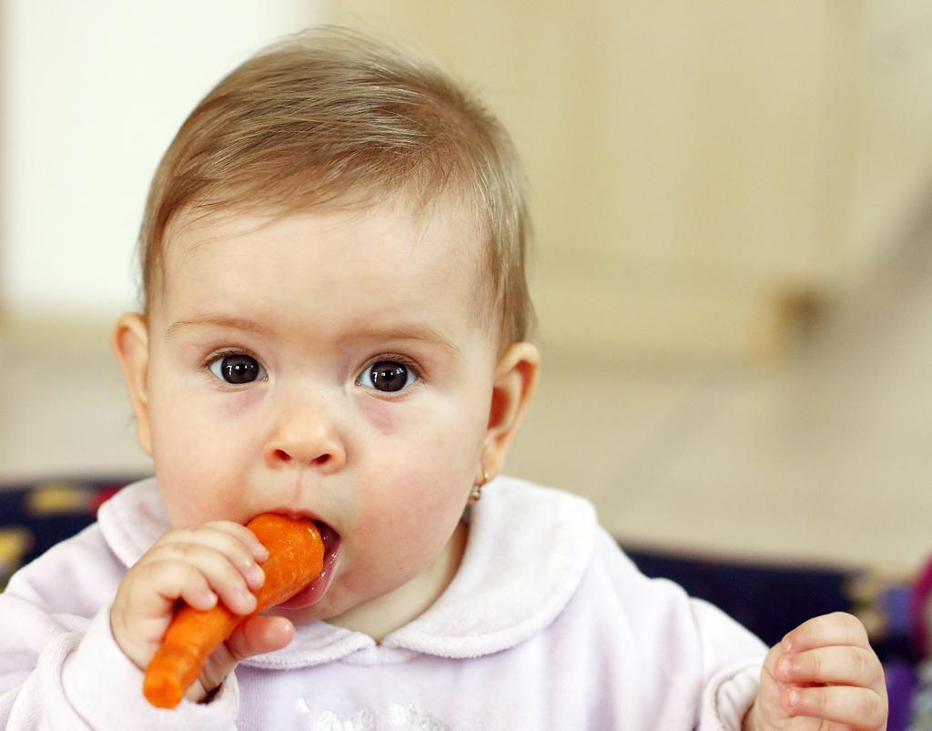 bebê comendo cenoura